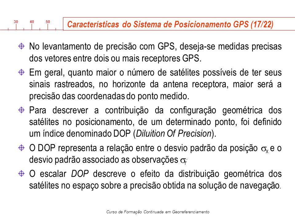 3040 50 Curso de Formação Continuada em Georreferenciamento Características do Sistema de Posicionamento GPS (17/22) No levantamento de precisão com G
