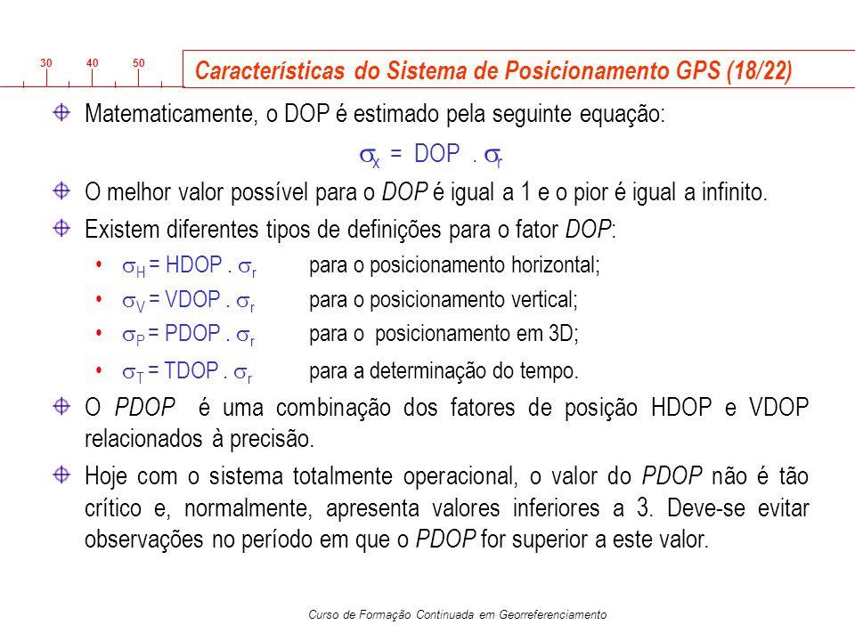 3040 50 Curso de Formação Continuada em Georreferenciamento Características do Sistema de Posicionamento GPS (18/22) Matematicamente, o DOP é estimado