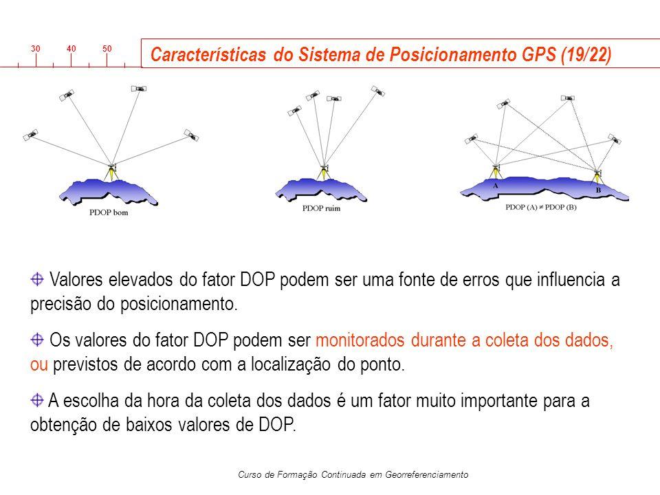 3040 50 Curso de Formação Continuada em Georreferenciamento Características do Sistema de Posicionamento GPS (19/22) Valores elevados do fator DOP pod