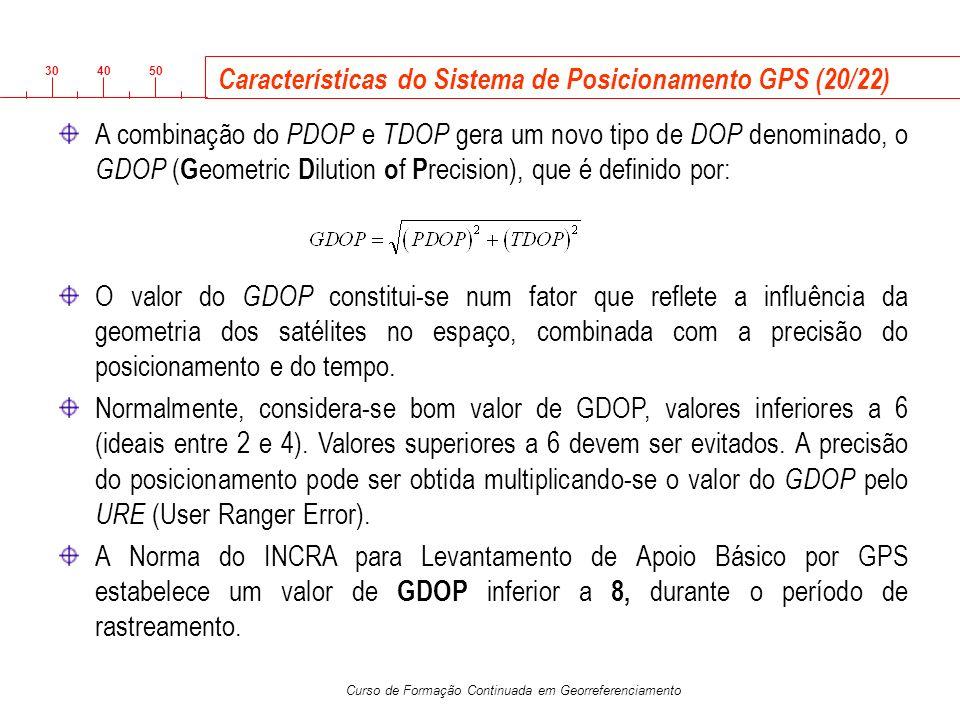 3040 50 Curso de Formação Continuada em Georreferenciamento Características do Sistema de Posicionamento GPS (20/22) A combinação do PDOP e TDOP gera