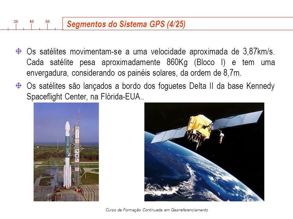 3040 50 Curso de Formação Continuada em Georreferenciamento Segmentos do Sistema GPS (4/25) Os satélites movimentam-se a uma velocidade aproximada de