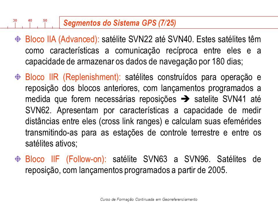 3040 50 Curso de Formação Continuada em Georreferenciamento Segmentos do Sistema GPS (7/25) Bloco IIA (Advanced): satélite SVN22 até SVN40. Estes saté