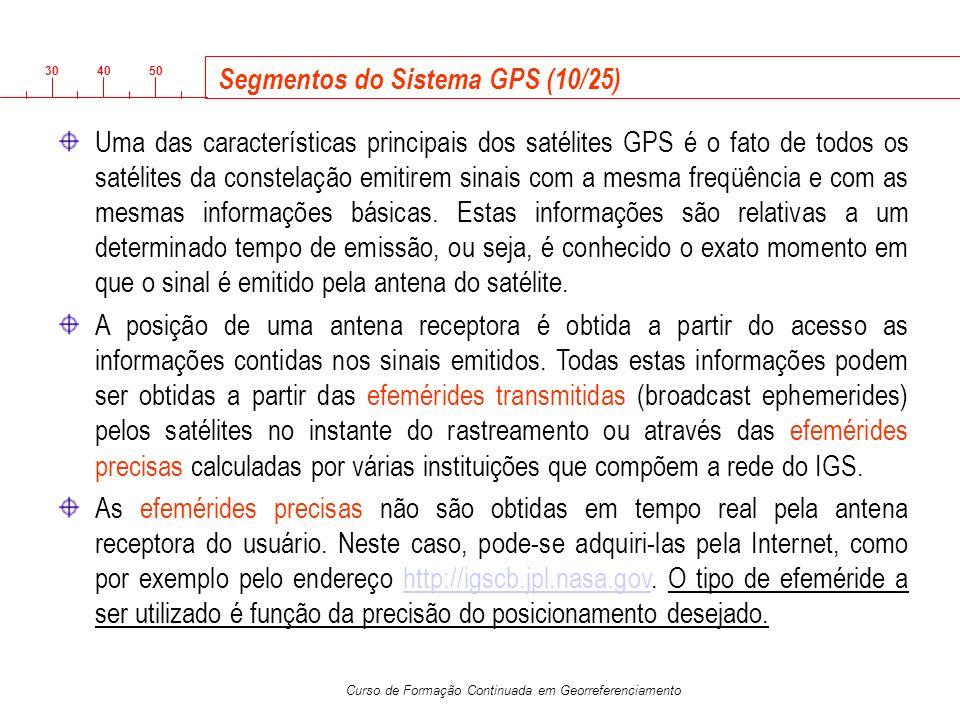 3040 50 Curso de Formação Continuada em Georreferenciamento Segmentos do Sistema GPS (10/25) Uma das características principais dos satélites GPS é o