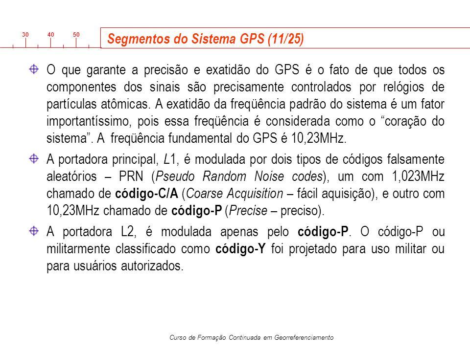 3040 50 Curso de Formação Continuada em Georreferenciamento Segmentos do Sistema GPS (11/25) O que garante a precisão e exatidão do GPS é o fato de qu