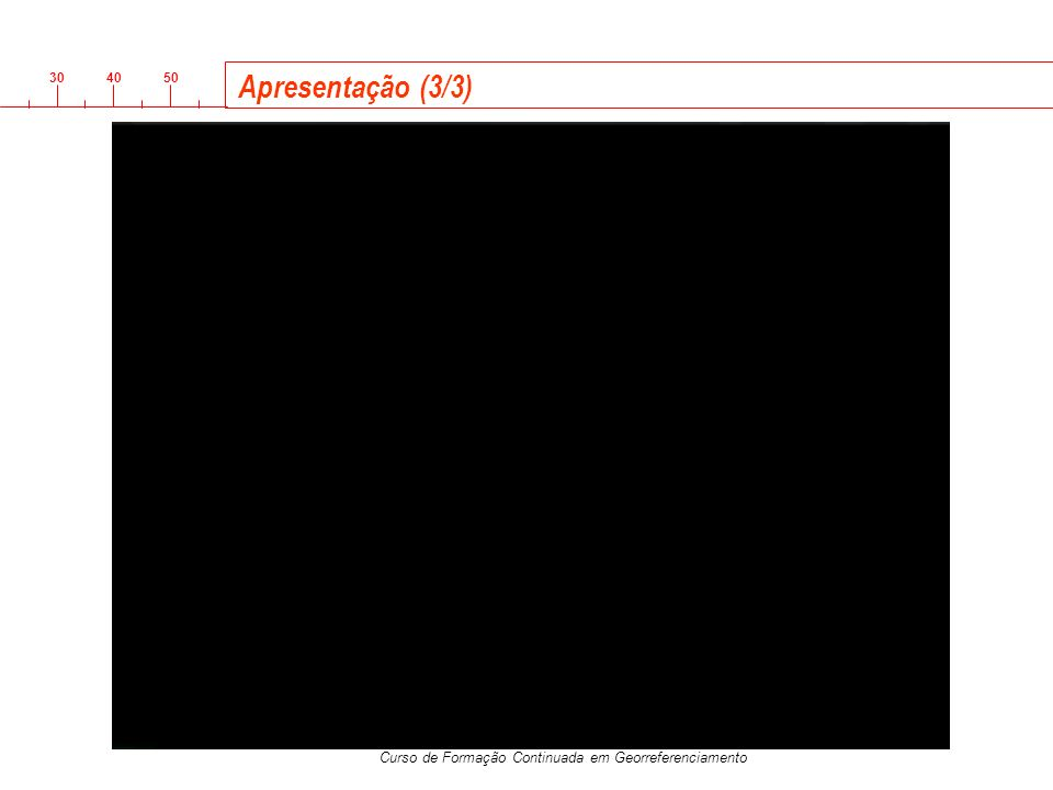 3040 50 Curso de Formação Continuada em Georreferenciamento Parâmetros do Processamento Efemérides Efemérides transmitidas: usadas para base curtas Efemérides Precisas: Base longas Efemérides Opções de processamento Code and phase Code only Phase only RMS a priori Análise do Resultado da linha base Processamento