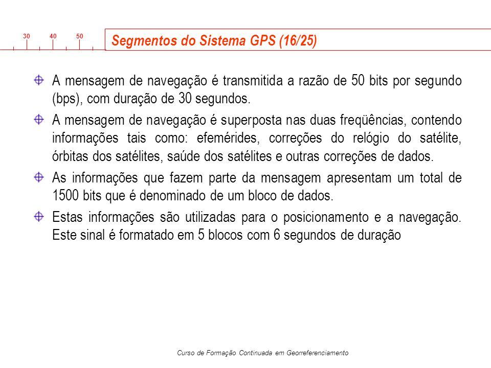 3040 50 Curso de Formação Continuada em Georreferenciamento Segmentos do Sistema GPS (16/25) A mensagem de navegação é transmitida a razão de 50 bits