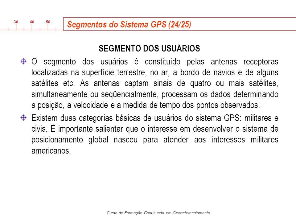 3040 50 Curso de Formação Continuada em Georreferenciamento Segmentos do Sistema GPS (24/25) SEGMENTO DOS USUÁRIOS O segmento dos usuários é constituí