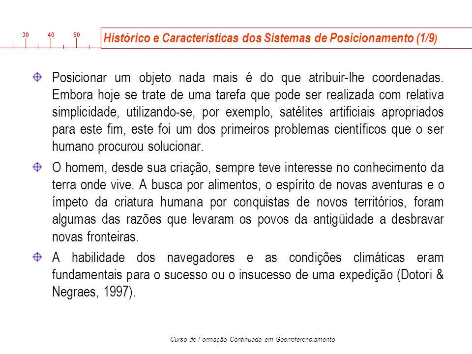 3040 50 Curso de Formação Continuada em Georreferenciamento Histórico e Características dos Sistemas de Posicionamento (1/9 ) Posicionar um objeto nad