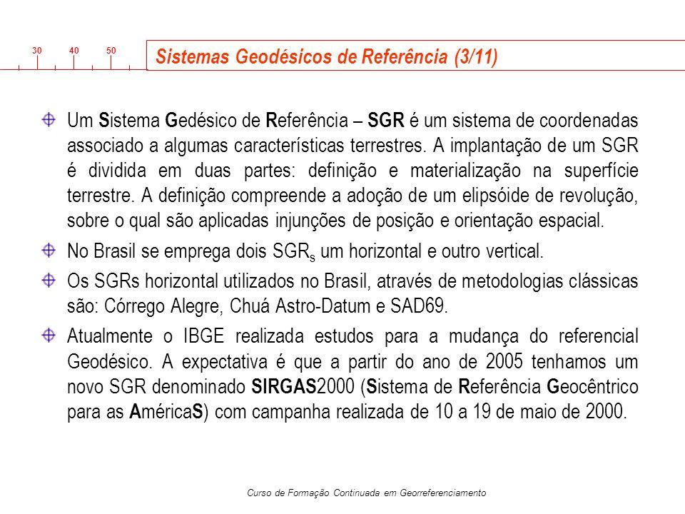 3040 50 Curso de Formação Continuada em Georreferenciamento Sistemas Geodésicos de Referência (3/11) Um S istema G edésico de R eferência – SGR é um s