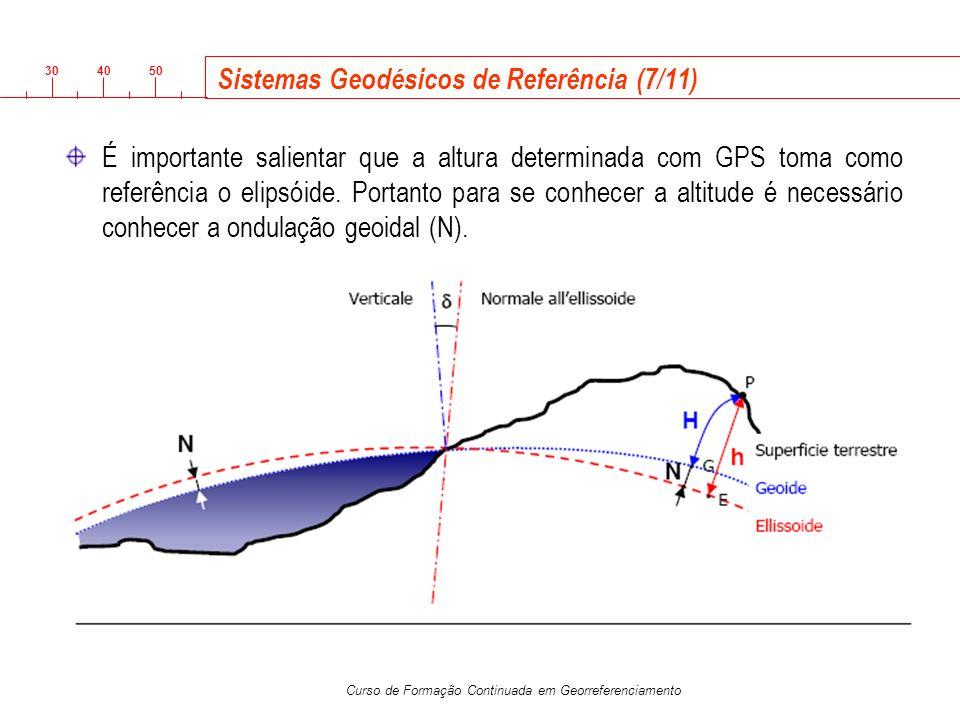 3040 50 Curso de Formação Continuada em Georreferenciamento Sistemas Geodésicos de Referência (7/11) É importante salientar que a altura determinada c