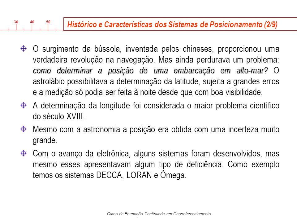3040 50 Curso de Formação Continuada em Georreferenciamento Histórico e Características dos Sistemas de Posicionamento (2/9) como determinar a posição
