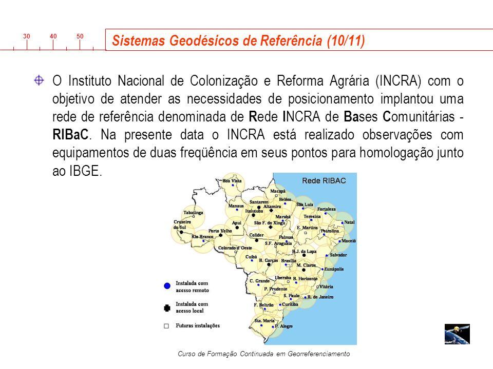 3040 50 Curso de Formação Continuada em Georreferenciamento Sistemas Geodésicos de Referência (10/11) O Instituto Nacional de Colonização e Reforma Ag