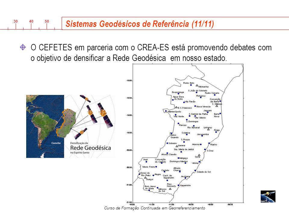 3040 50 Curso de Formação Continuada em Georreferenciamento Sistemas Geodésicos de Referência (11/11) O CEFETES em parceria com o CREA-ES está promove