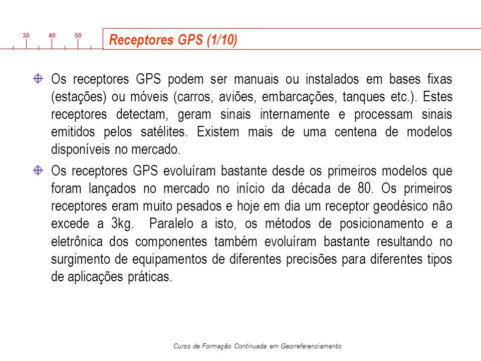 3040 50 Curso de Formação Continuada em Georreferenciamento Receptores GPS (1/10) Os receptores GPS podem ser manuais ou instalados em bases fixas (es