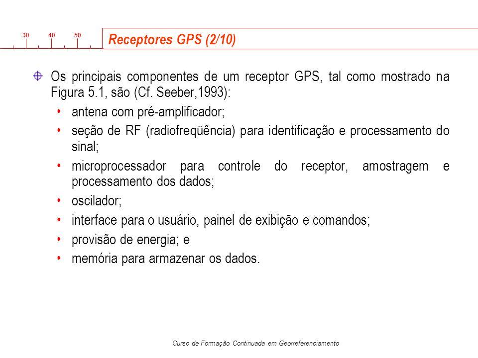 3040 50 Curso de Formação Continuada em Georreferenciamento Receptores GPS (2/10) Os principais componentes de um receptor GPS, tal como mostrado na F