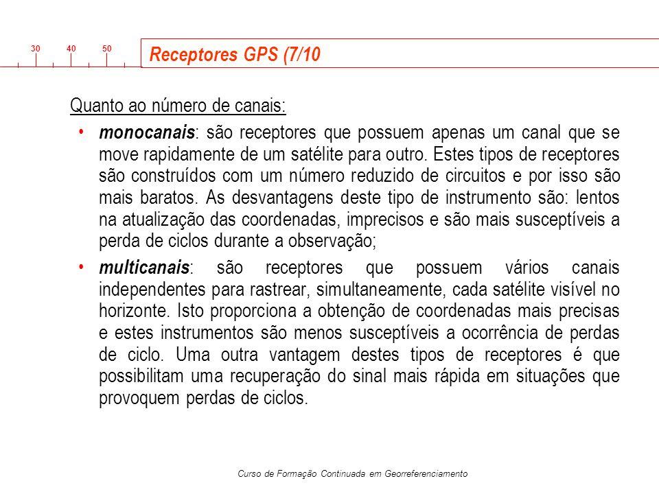 3040 50 Curso de Formação Continuada em Georreferenciamento Receptores GPS (7/10 Quanto ao número de canais: monocanais : são receptores que possuem a