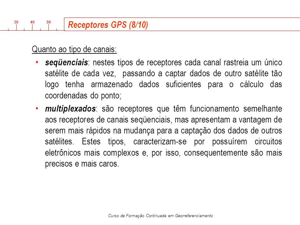 3040 50 Curso de Formação Continuada em Georreferenciamento Receptores GPS (8/10) Quanto ao tipo de canais: seqüenciais : nestes tipos de receptores c