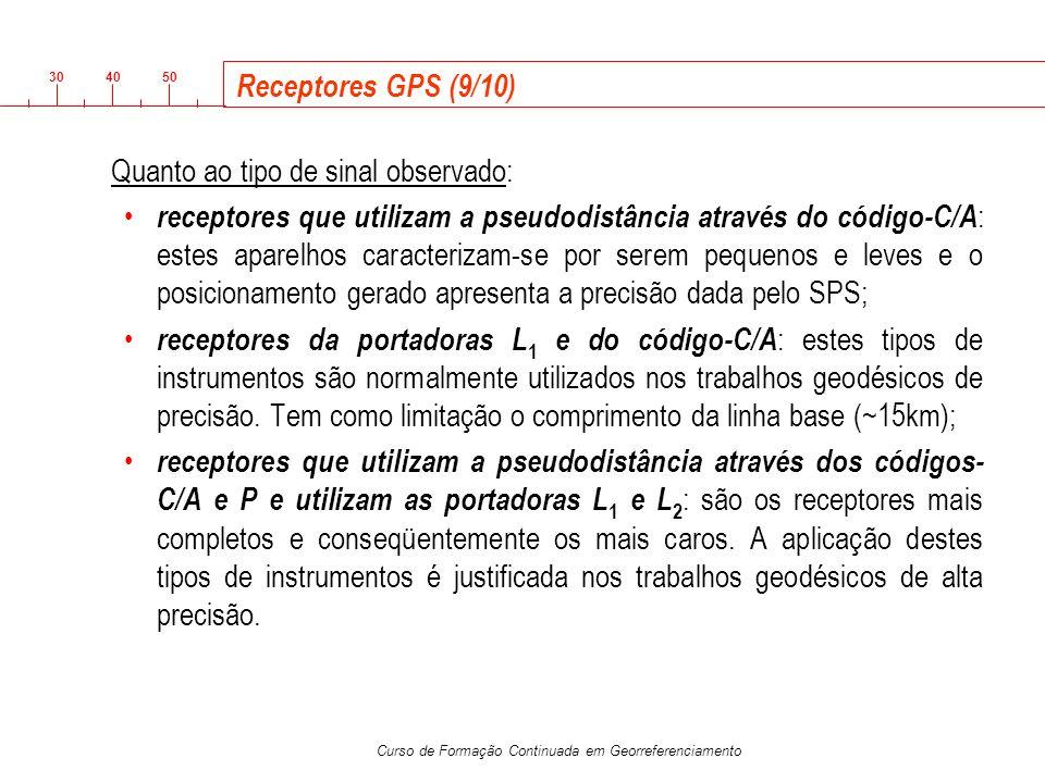 3040 50 Curso de Formação Continuada em Georreferenciamento Receptores GPS (9/10) Quanto ao tipo de sinal observado: receptores que utilizam a pseudod
