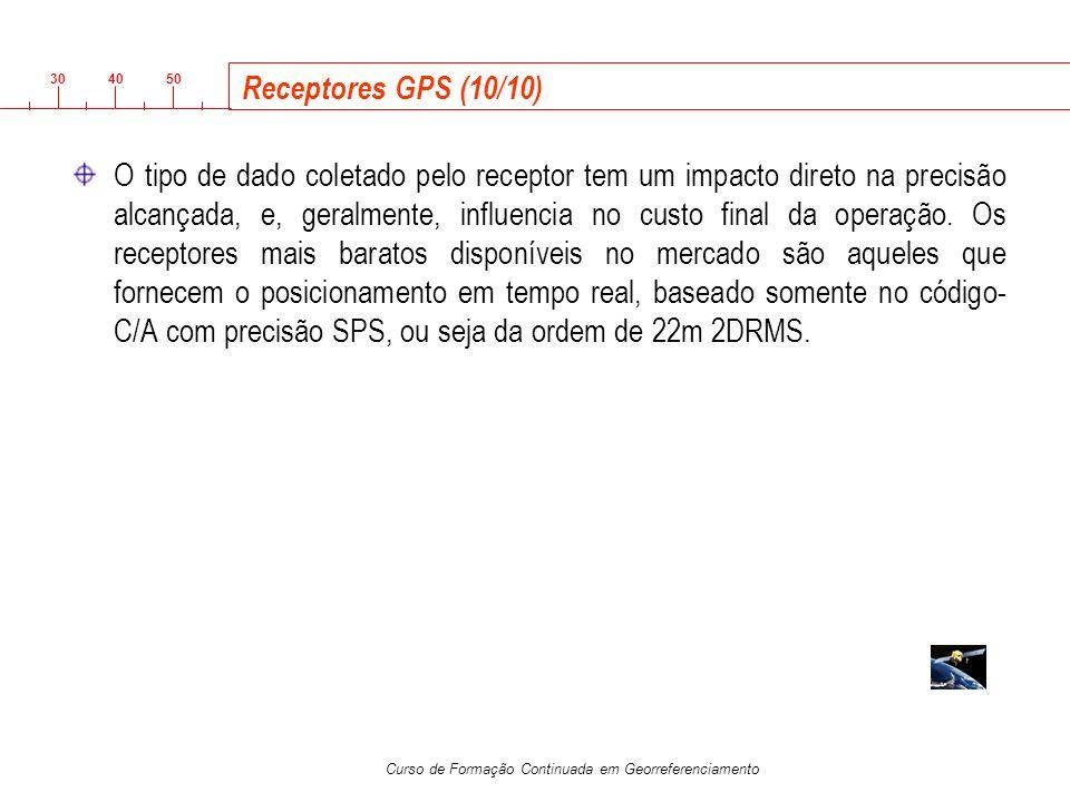 3040 50 Curso de Formação Continuada em Georreferenciamento Receptores GPS (10/10) O tipo de dado coletado pelo receptor tem um impacto direto na prec