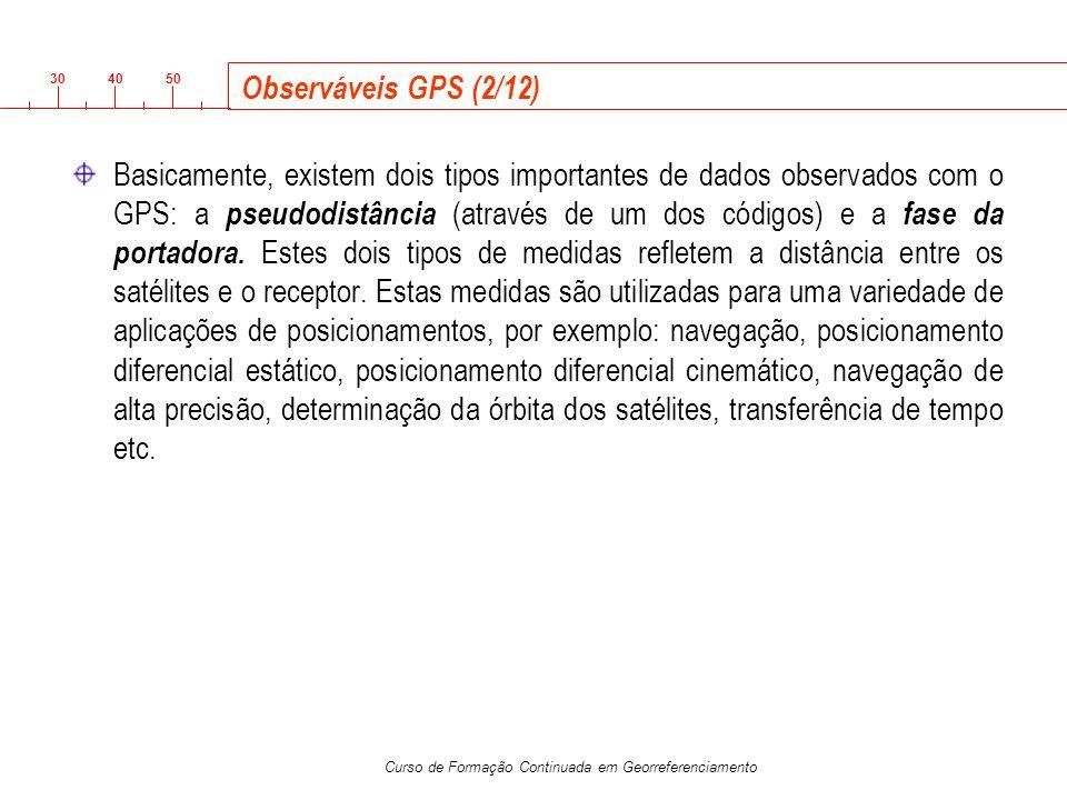 3040 50 Curso de Formação Continuada em Georreferenciamento Observáveis GPS (2/12) Basicamente, existem dois tipos importantes de dados observados com