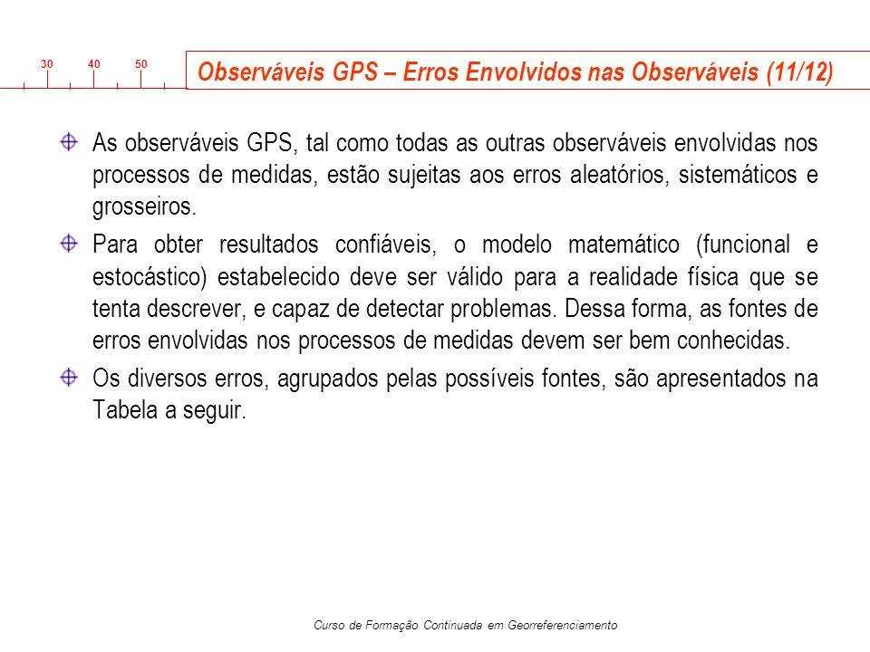 3040 50 Curso de Formação Continuada em Georreferenciamento Observáveis GPS – Erros Envolvidos nas Observáveis (11/12) As observáveis GPS, tal como to