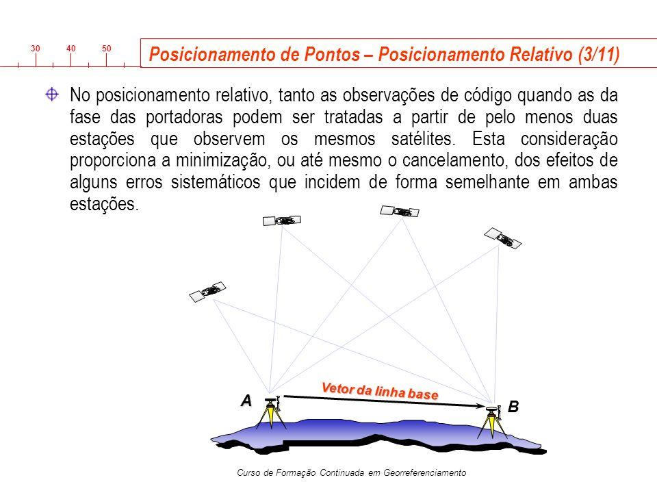 3040 50 Curso de Formação Continuada em Georreferenciamento Posicionamento de Pontos – Posicionamento Relativo (3/11) No posicionamento relativo, tant