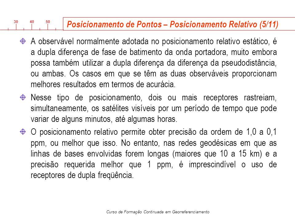 3040 50 Curso de Formação Continuada em Georreferenciamento Posicionamento de Pontos – Posicionamento Relativo (5/11) A observável normalmente adotada