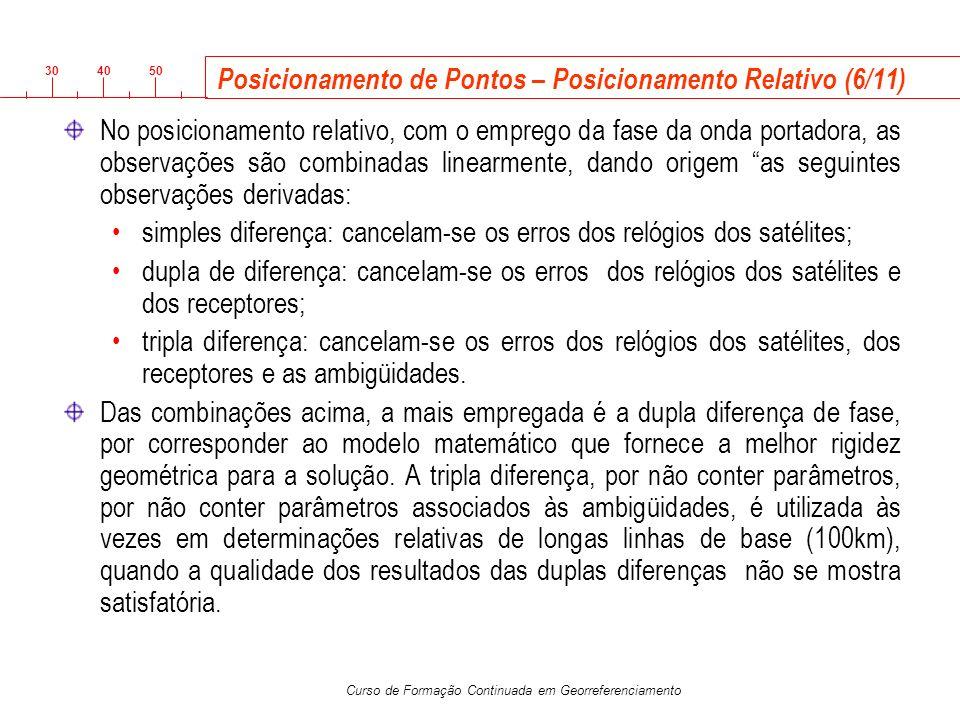 3040 50 Curso de Formação Continuada em Georreferenciamento Posicionamento de Pontos – Posicionamento Relativo (6/11) No posicionamento relativo, com