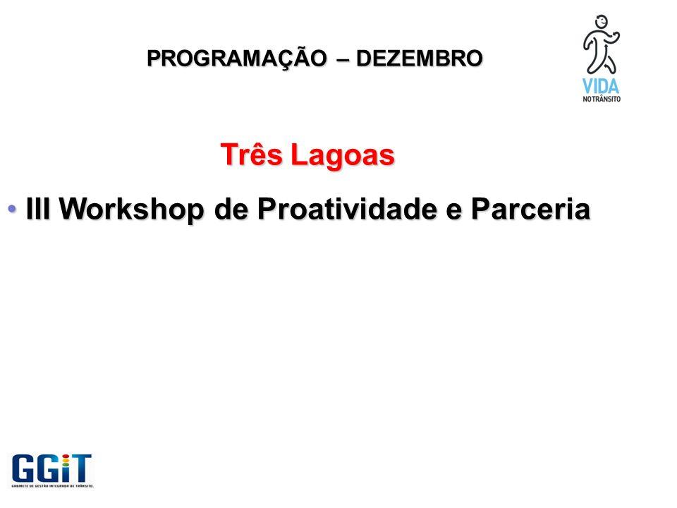 PROGRAMAÇÃO – DEZEMBRO Três Lagoas III Workshop de Proatividade e Parceria III Workshop de Proatividade e Parceria