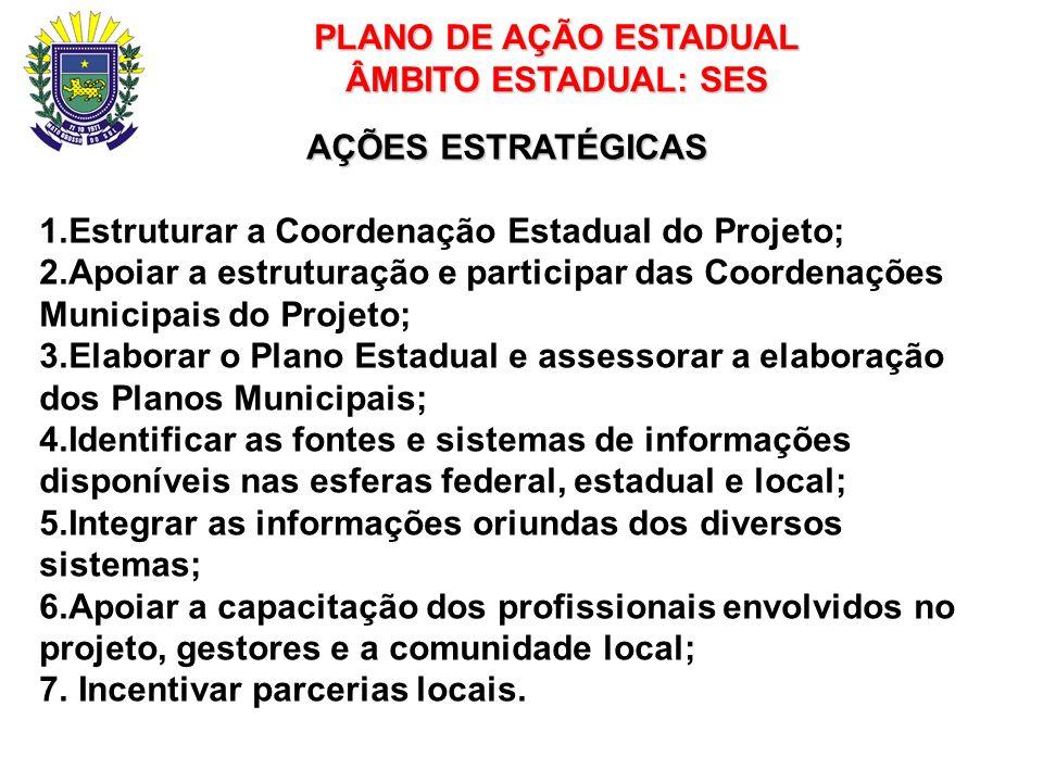 PLANO DE AÇÃO ESTADUAL ÂMBITO ESTADUAL: SES AÇÕES ESTRATÉGICAS 1.Estruturar a Coordenação Estadual do Projeto; 2.Apoiar a estruturação e participar da