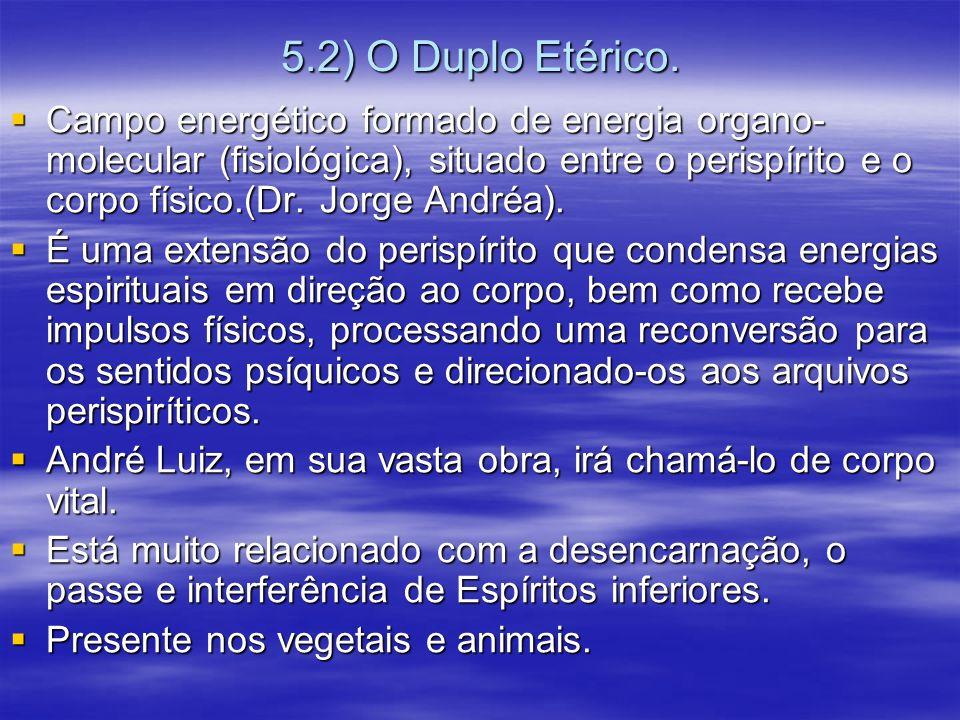 5.2) O Duplo Etérico. Campo energético formado de energia organo- molecular (fisiológica), situado entre o perispírito e o corpo físico.(Dr. Jorge And
