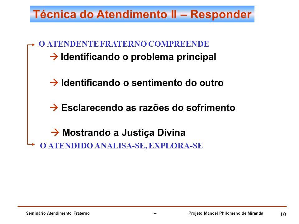 Seminário Atendimento Fraterno – Projeto Manoel Philomeno de Miranda 10 Técnica do Atendimento II – Responder O ATENDENTE FRATERNO COMPREENDE Identifi