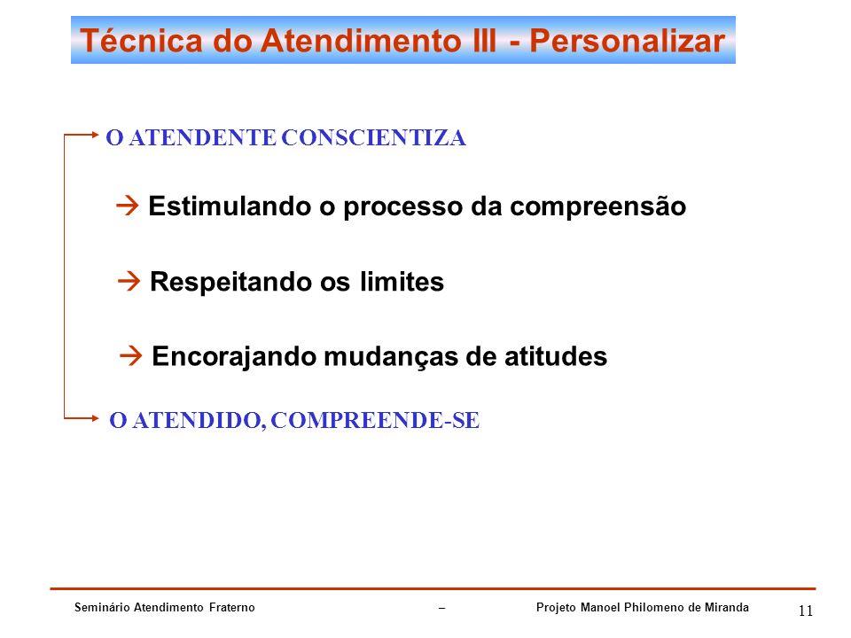 Seminário Atendimento Fraterno – Projeto Manoel Philomeno de Miranda 11 Técnica do Atendimento III - Personalizar O ATENDENTE CONSCIENTIZA Estimulando o processo da compreensão Respeitando os limites Encorajando mudanças de atitudes O ATENDIDO, COMPREENDE-SE