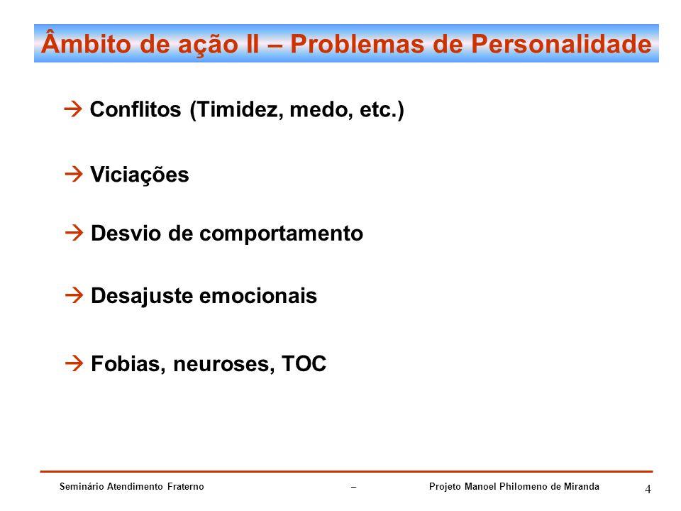 Seminário Atendimento Fraterno – Projeto Manoel Philomeno de Miranda 4 Âmbito de ação II – Problemas de Personalidade Conflitos (Timidez, medo, etc.)