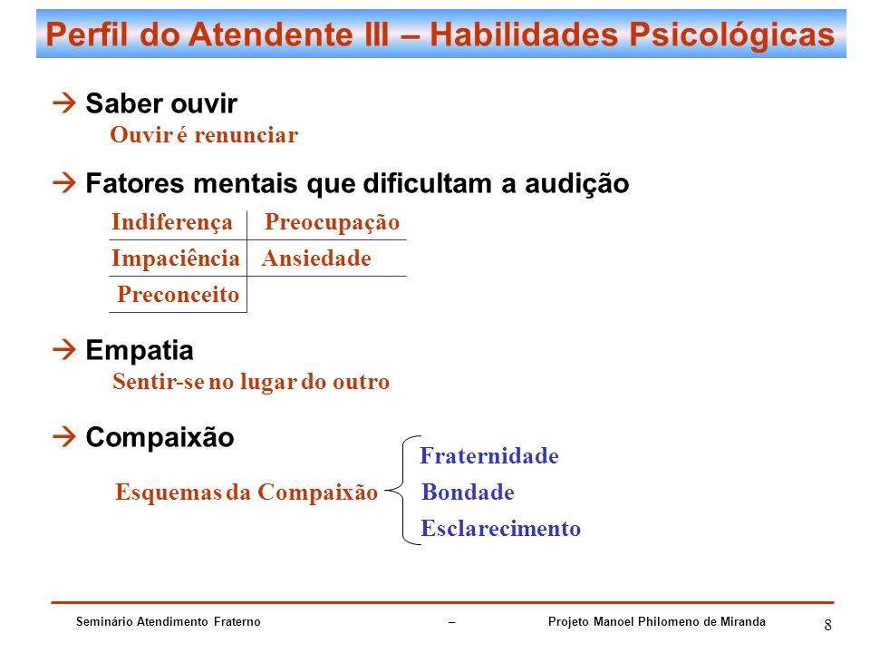 Seminário Atendimento Fraterno – Projeto Manoel Philomeno de Miranda 8 Perfil do Atendente III – Habilidades Psicológicas Saber ouvir Fatores mentais