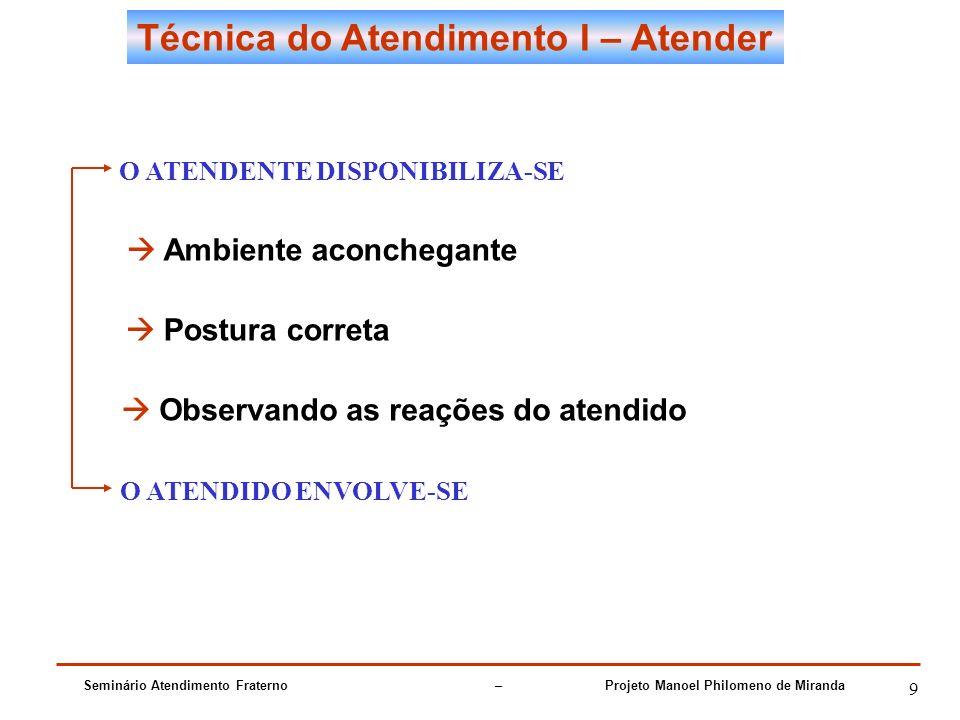 Seminário Atendimento Fraterno – Projeto Manoel Philomeno de Miranda 9 Técnica do Atendimento I – Atender O ATENDENTE DISPONIBILIZA-SE Ambiente aconch