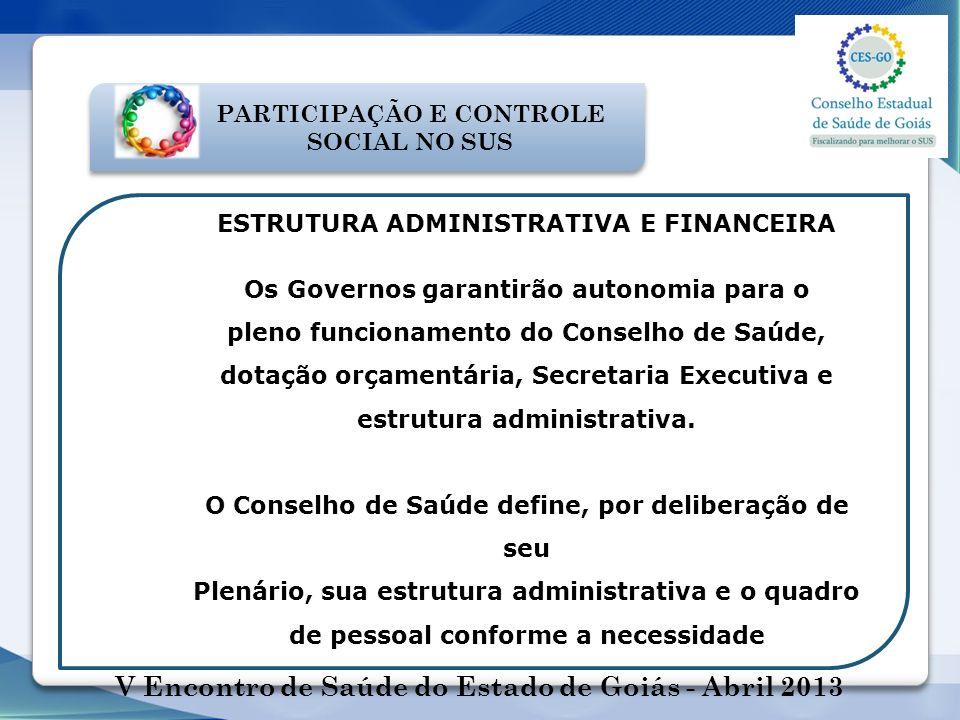 PARTICIPAÇÃO E CONTROLE SOCIAL NO SUS ESTRUTURA ADMINISTRATIVA E FINANCEIRA Os Governos garantirão autonomia para o pleno funcionamento do Conselho de