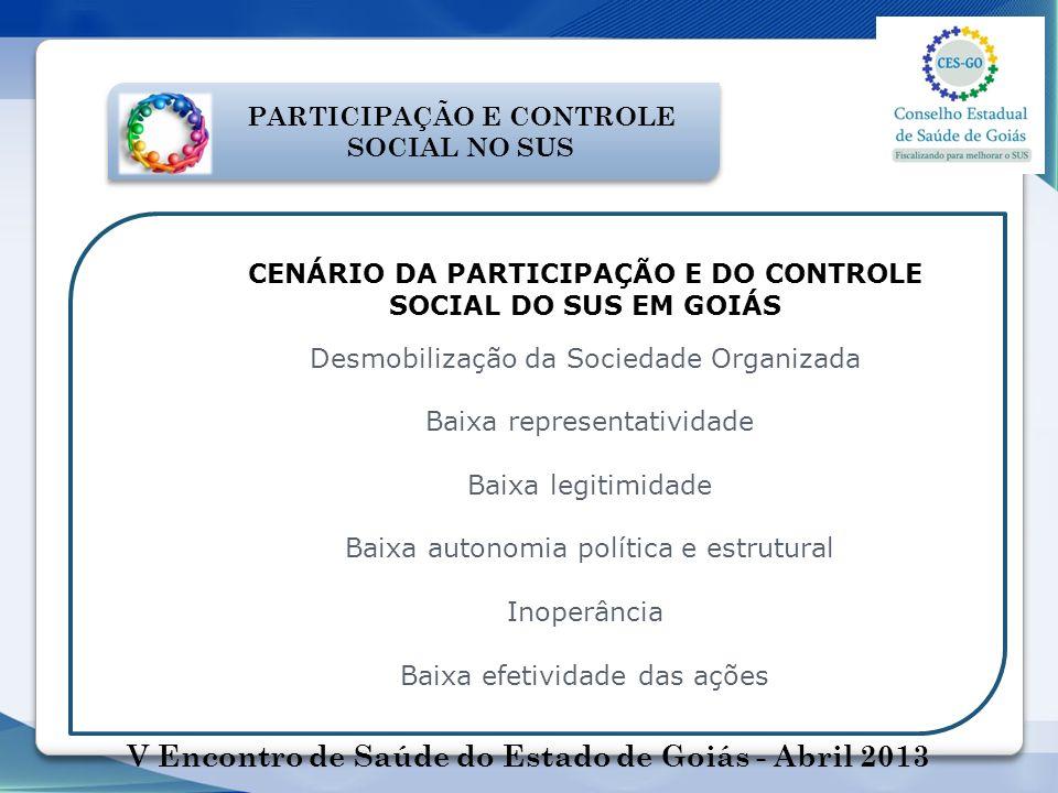 PARTICIPAÇÃO E CONTROLE SOCIAL NO SUS CENÁRIO DA PARTICIPAÇÃO E DO CONTROLE SOCIAL DO SUS EM GOIÁS Desmobilização da Sociedade Organizada Baixa repres