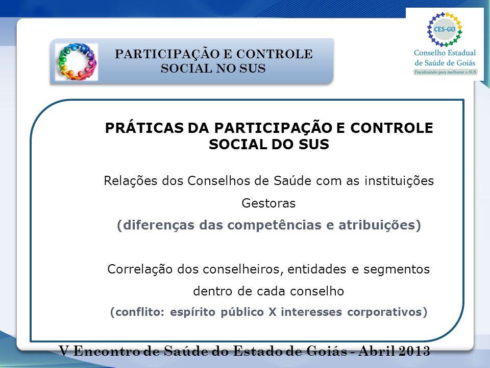 PARTICIPAÇÃO E CONTROLE SOCIAL NO SUS PRÁTICAS DA PARTICIPAÇÃO E CONTROLE SOCIAL DO SUS Relações dos Conselhos de Saúde com as instituições Gestoras (