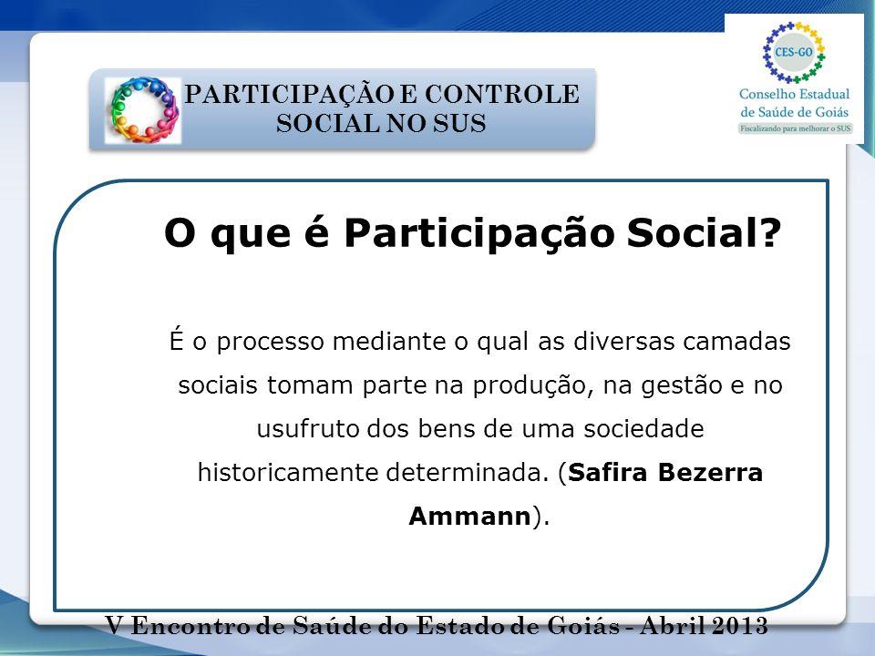 PARTICIPAÇÃO E CONTROLE SOCIAL NO SUS O que é Participação Social? É o processo mediante o qual as diversas camadas sociais tomam parte na produção, n