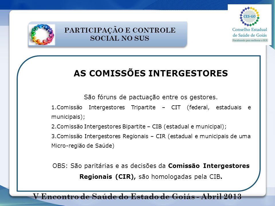 AS COMISSÕES INTERGESTORES São fóruns de pactuação entre os gestores. 1.Comissão Intergestores Tripartite – CIT (federal, estaduais e municipais); 2.C
