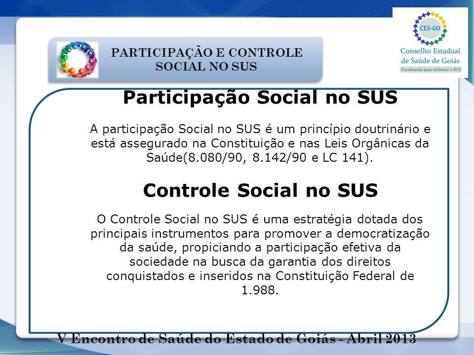 PARTICIPAÇÃO E CONTROLE SOCIAL NO SUS Participação Social no SUS A participação Social no SUS é um princípio doutrinário e está assegurado na Constitu