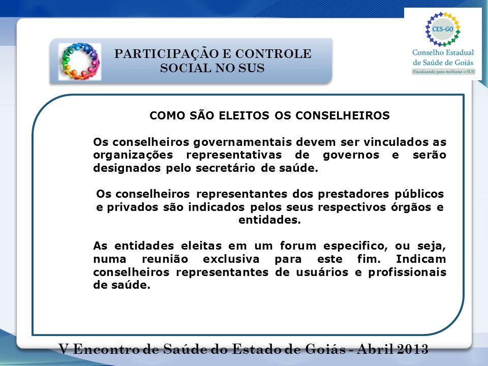 COMO SÃO ELEITOS OS CONSELHEIROS Os conselheiros governamentais devem ser vinculados as organizações representativas de governos e serão designados pe