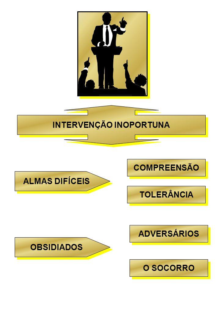 INTERVENÇÃO INOPORTUNA ALMAS DIFÍCEIS COMPREENSÃO TOLERÂNCIA OBSIDIADOS ADVERSÁRIOS O SOCORRO