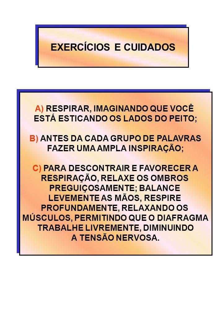 EXERCÍCIOS E CUIDADOS A) RESPIRAR, IMAGINANDO QUE VOCÊ ESTÁ ESTICANDO OS LADOS DO PEITO; B) ANTES DA CADA GRUPO DE PALAVRAS FAZER UMA AMPLA INSPIRAÇÃO