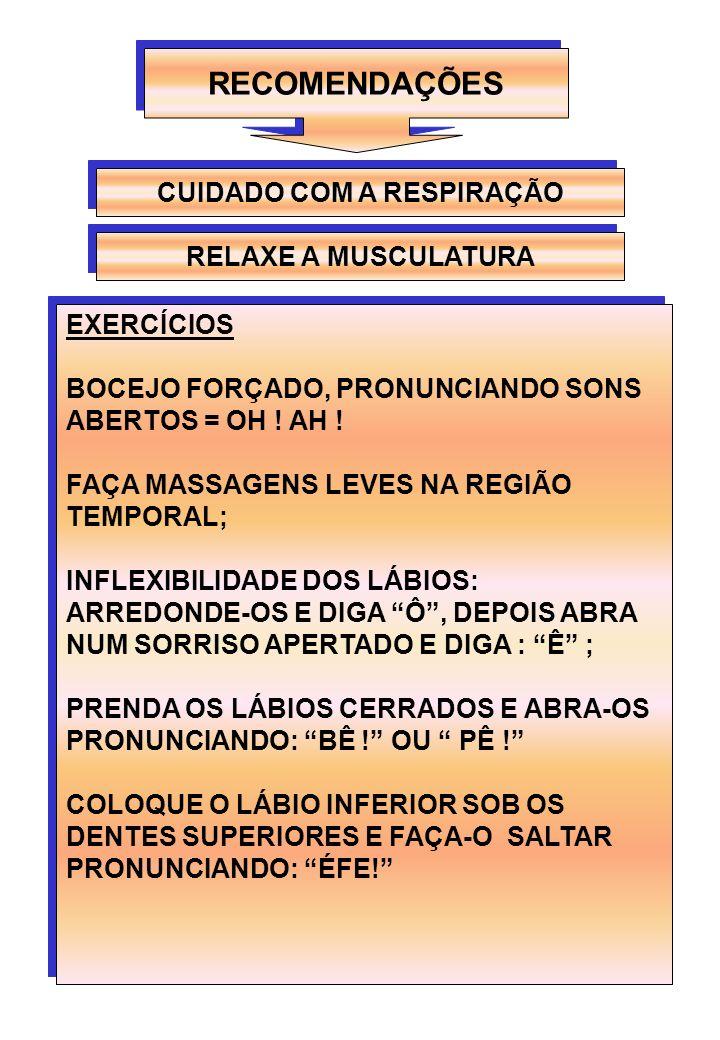 RECOMENDAÇÕES CUIDADO COM A RESPIRAÇÃO EXERCÍCIOS BOCEJO FORÇADO, PRONUNCIANDO SONS ABERTOS = OH ! AH ! FAÇA MASSAGENS LEVES NA REGIÃO TEMPORAL; INFLE