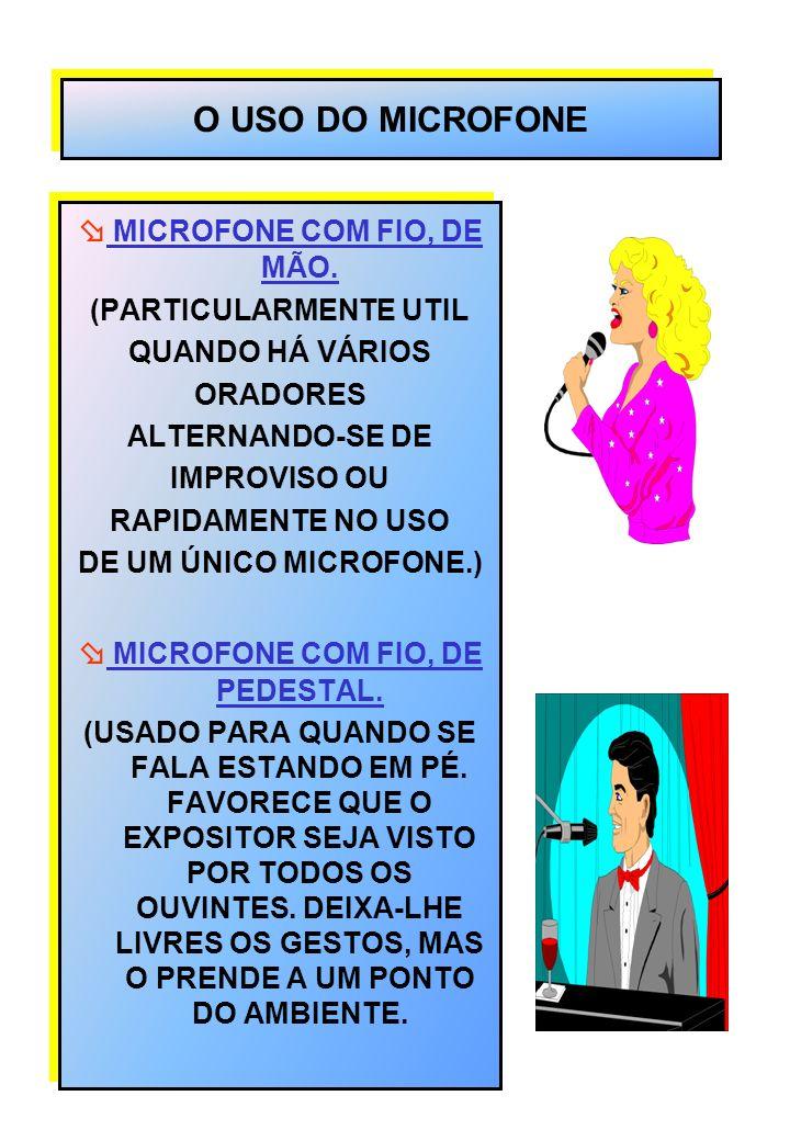 O USO DO MICROFONE MICROFONE COM FIO, DE MÃO. (PARTICULARMENTE UTIL QUANDO HÁ VÁRIOS ORADORES ALTERNANDO-SE DE IMPROVISO OU RAPIDAMENTE NO USO DE UM Ú