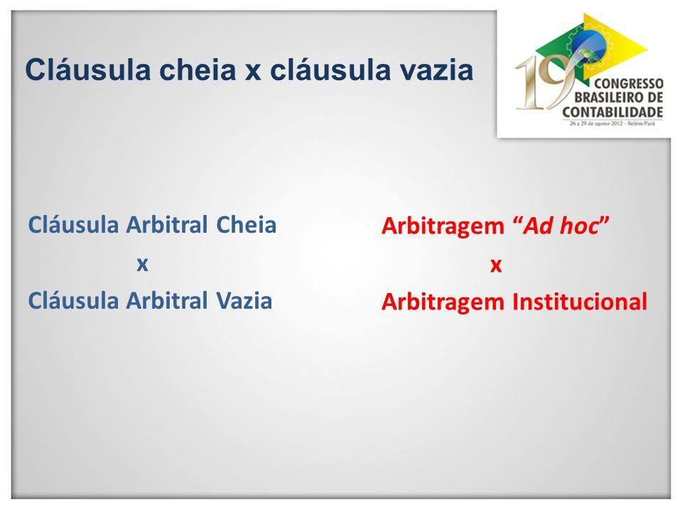 Cláusula Arbitral Cheia x Cláusula Arbitral Vazia Arbitragem Ad hoc x Arbitragem Institucional Cláusula cheia x cláusula vazia
