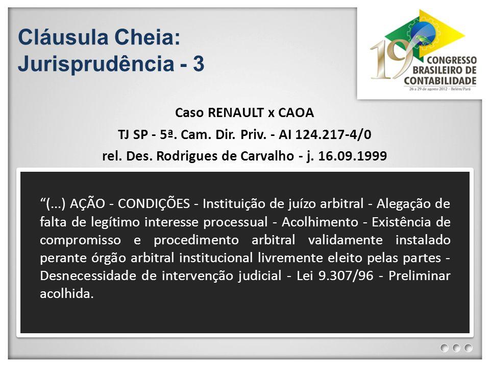Cláusula Cheia: Jurisprudência - 3 Caso RENAULT x CAOA TJ SP - 5ª. Cam. Dir. Priv. - AI 124.217-4/0 rel. Des. Rodrigues de Carvalho - j. 16.09.1999 (.