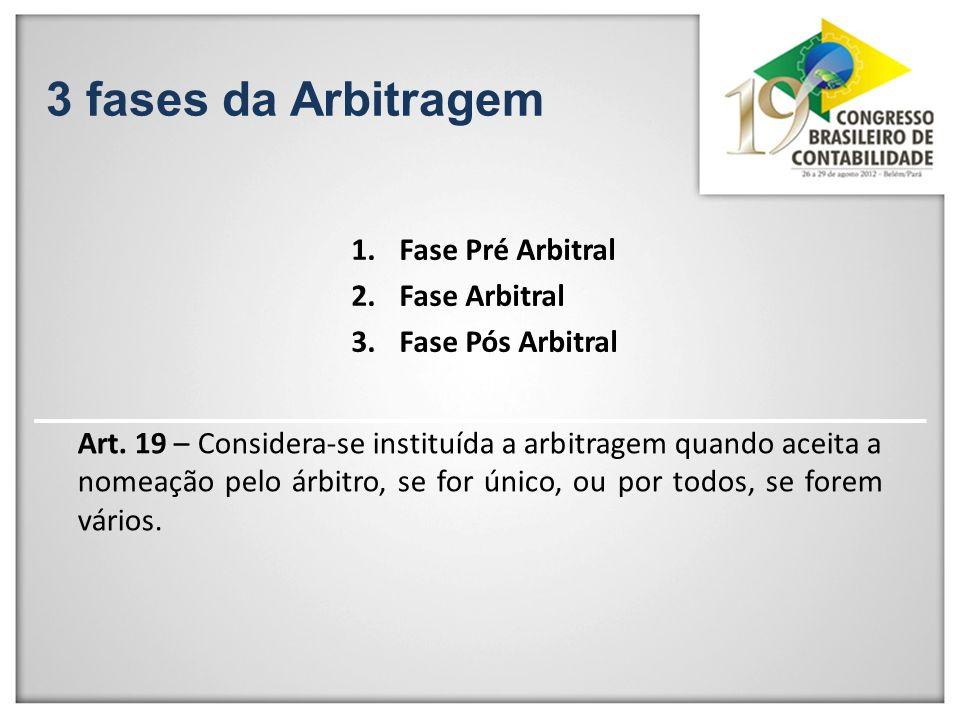 3 fases da Arbitragem 1.Fase Pré Arbitral 2.Fase Arbitral 3.Fase Pós Arbitral Art. 19 – Considera-se instituída a arbitragem quando aceita a nomeação